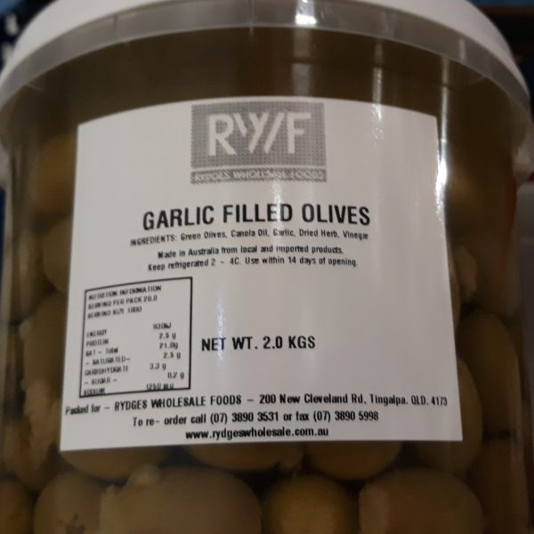 Olives Garlic Filled 2kg Bucket