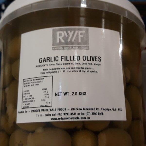 Olives Garlic Filled 2kg Bucket