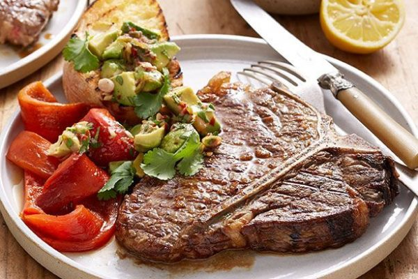 barbecued tbone steaks and capsicums-with avocado salsa 98323